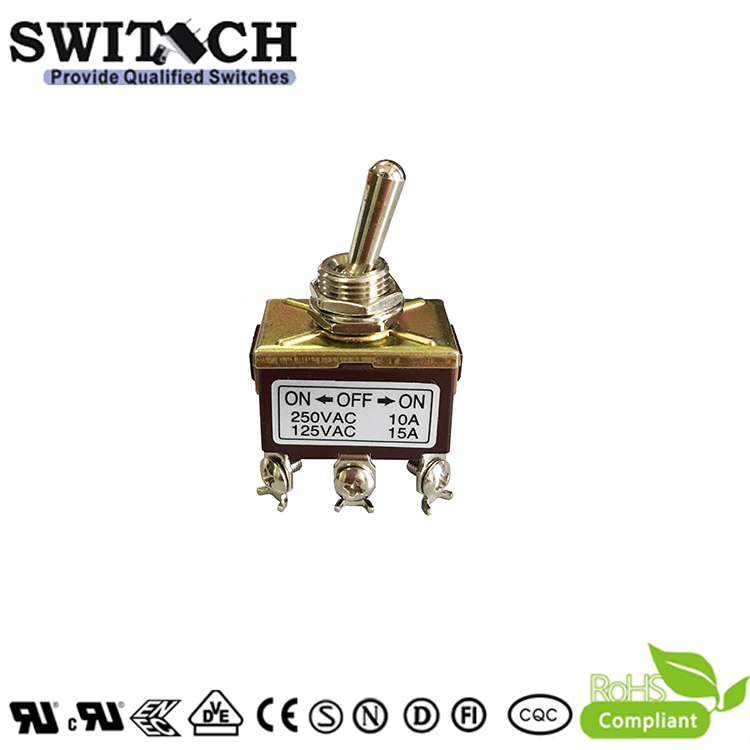706-2-SWA3B2H2 2Ways 6 Pins Metal ON-OFF-ON Rocker Arms Toggle Switch