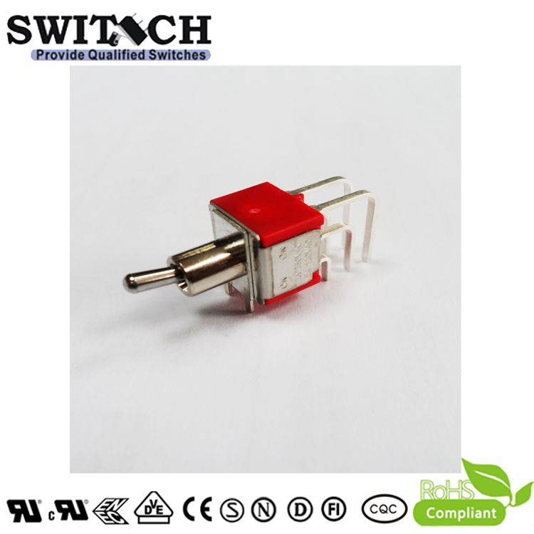 1MD1SWT2B4M7QES 3 Way ON-OFF-ON Bend Pins Metal Toggle Switch