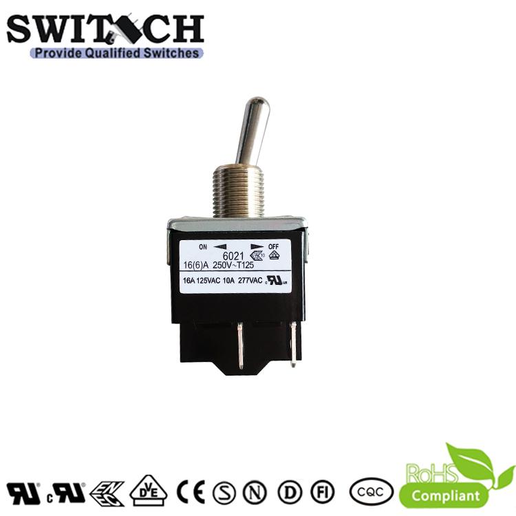 6012-SWK1C1T2CU 2Ways 3Pins Metal ON-ON Rocker Arms Toggle Switch