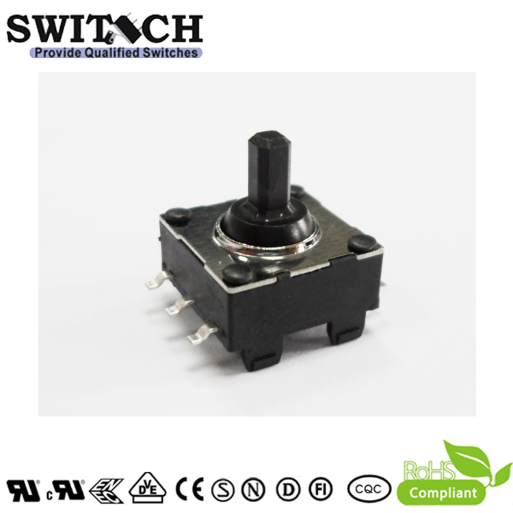 JC-SWA07-08 rotary push button switch with 6 terminals