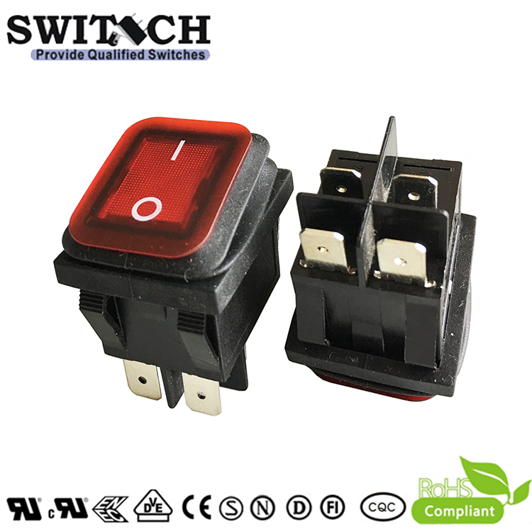 K3-D-2A111BRC1 snap-action round 2 pins SPST IP65 waterproof rocker switch