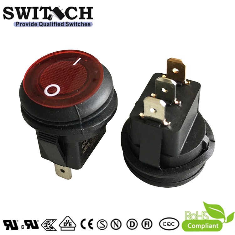 K5-B-1E111BRC1 snap-action round 2 pins SPST IP65 waterproof rocker switch