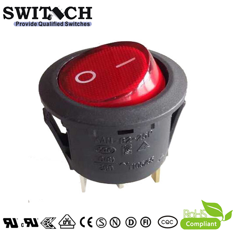 KAN-B2-25P28 high quality on-off 3pins SPDT round red illuminated rocker switch