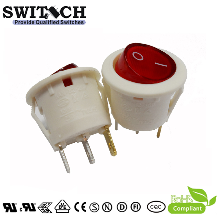 KAN-B2-25PSW28B high quality on-off 3pins SPDT round red illuminated rocker switch