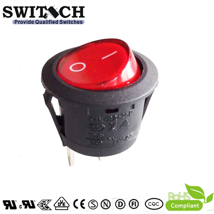 KAN-B2-SW25P12 23mm 2 pins ON-OFF SPST rocker switch with red button