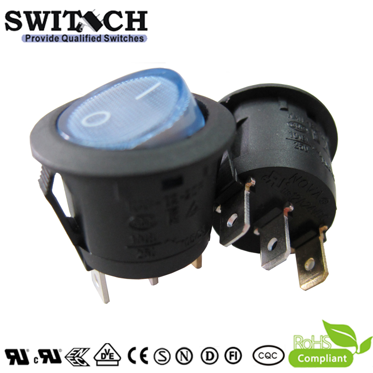 KAN-B2-SW25P28BL 23mm DC 12V 3pins, on-off, SPDT  rocker switch with blue LED light