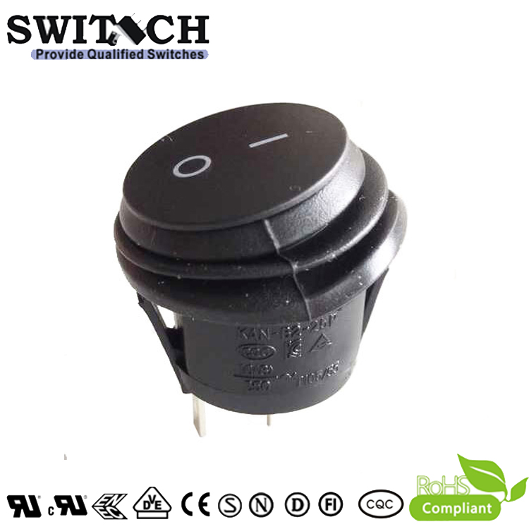 KAN-B2-25P38-D Gold-plating snap-action round 2 pins SPST IP65 waterproof rocker switch