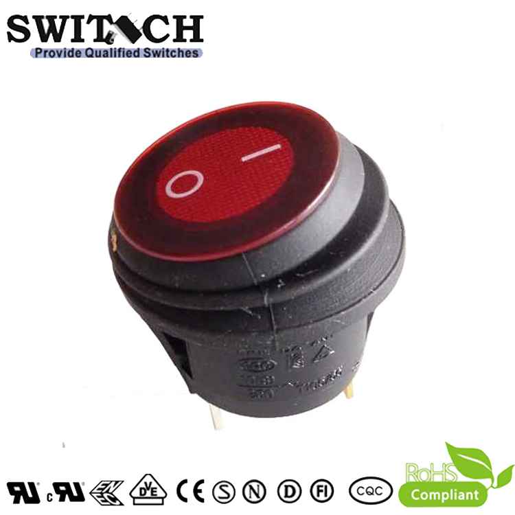 KAN-B2-SW25P48 free sample DC 24V ON-OFF 3 pins round waterproof rocker switch with red LED