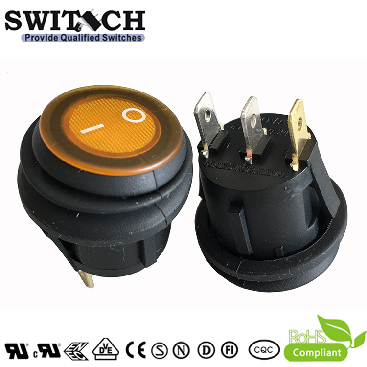 KAN-B2-SW25P39Y free sample 3 pins round waterproof rocker switch with Orang LED