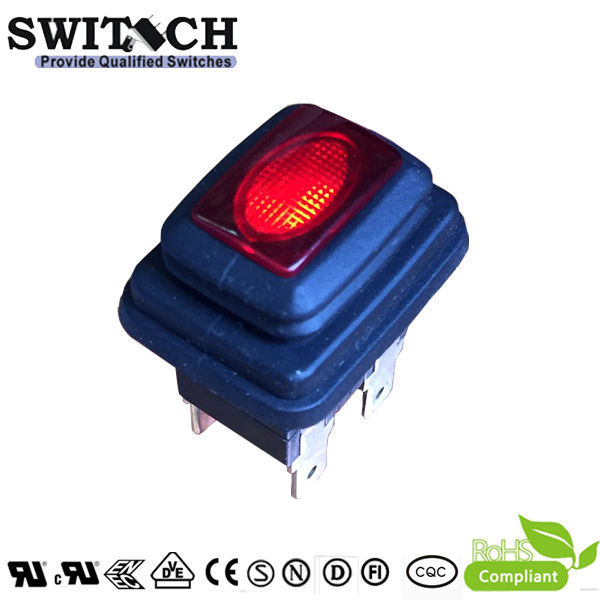 KAN-L6-WP waterproof IP67 locked push button switch with LED 16A 250VAC