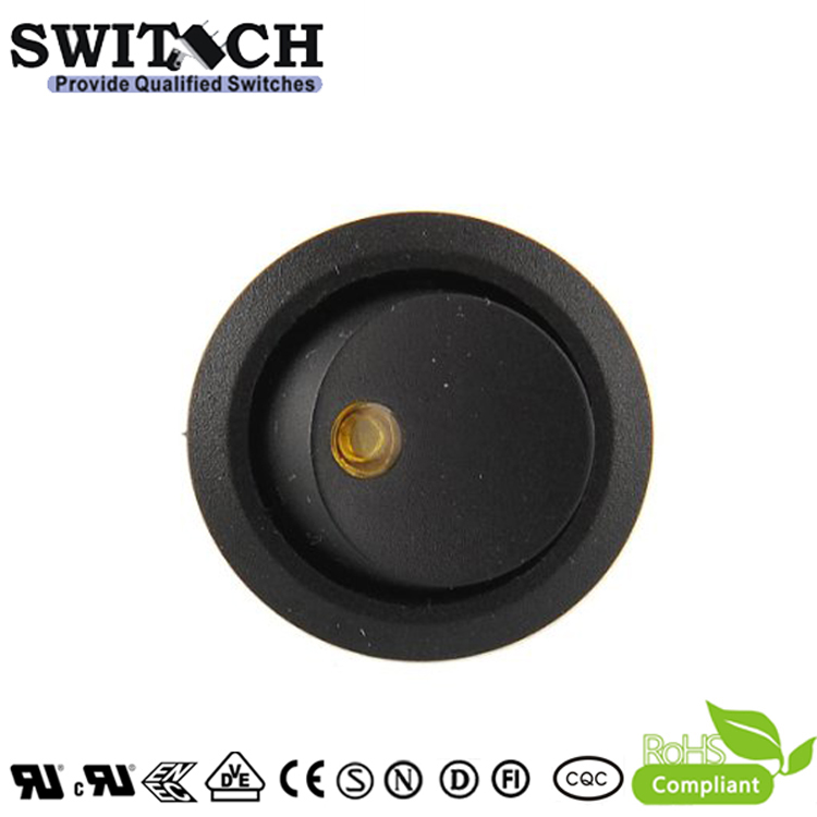 KCD1-105-10 black round 3pins, on-off, SPST rocker switch with Neon lamp