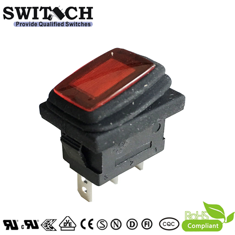 KCD3-11N-FB1B-B-R-DC12V snap-action round 2 pins SPST IP65 waterproof rocker switch