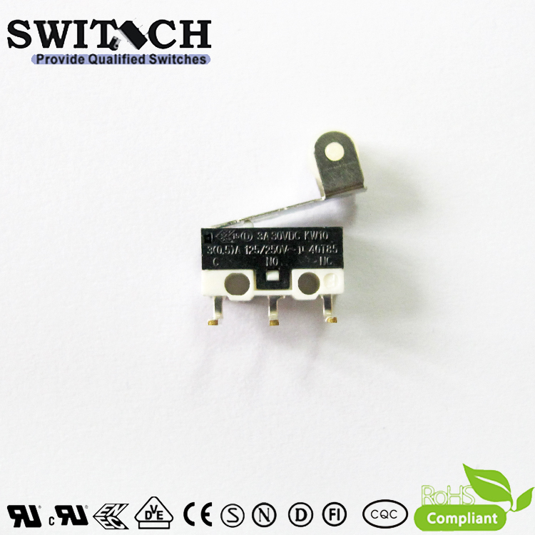KW10-ZSW5R150 Mini Snap Action Switch with Right-angle PCB Terminal /roller lever