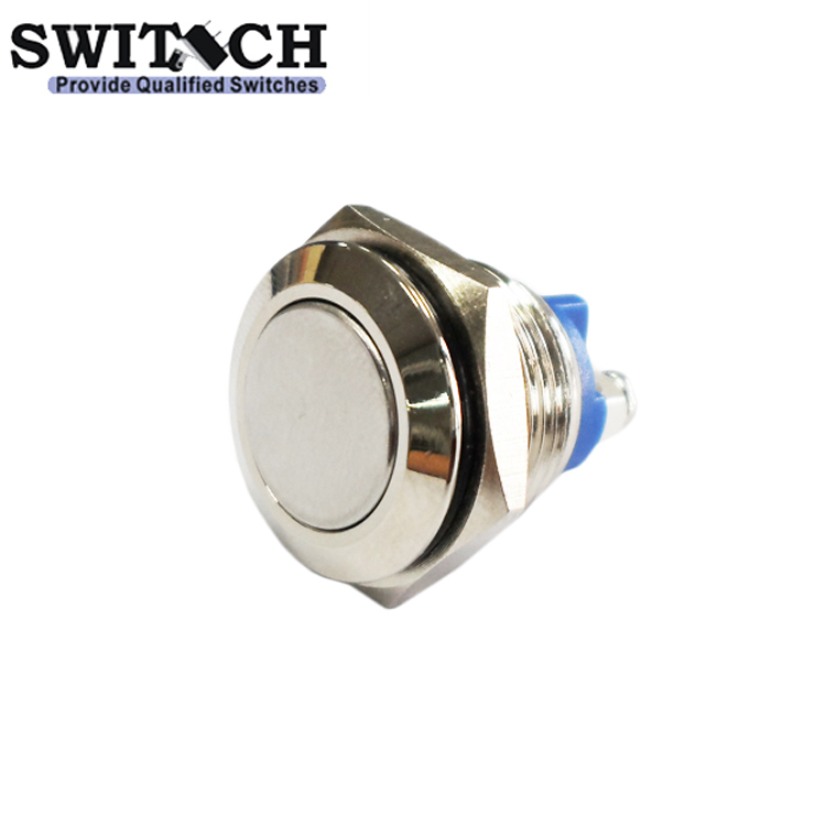 MPS-16SW-ST 16mm flat head stainless steel pushbutton switch with brass terminal