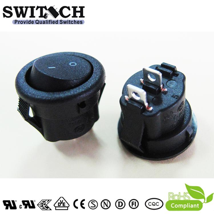 MR5-110-R5N-BBW-3 2 pins on-off SPST round mini rocker switch for sweeping machine