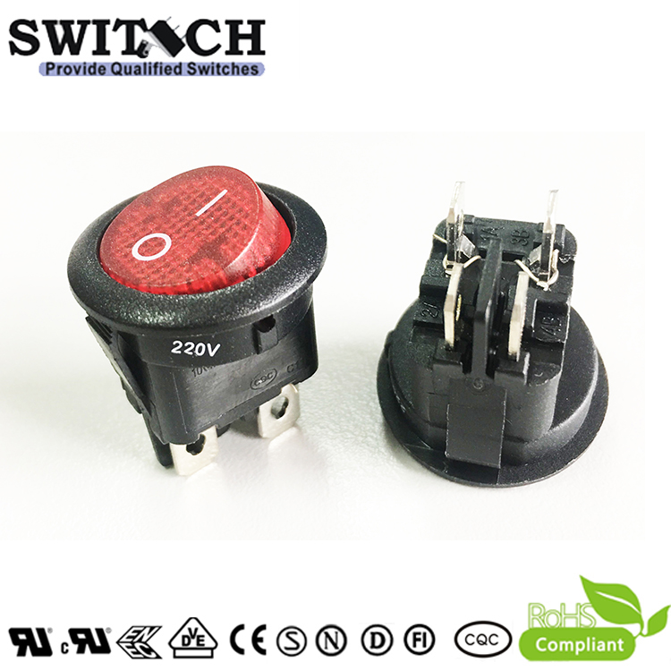MR-211R5W-GBRB-12N 4pins, 20mm DPST round rocker switch for  medical machine
