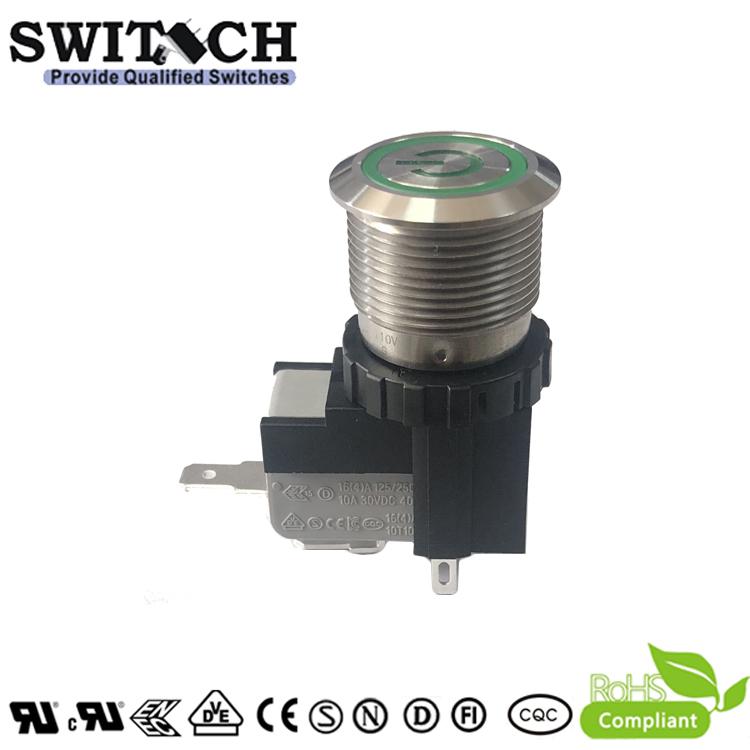 MW19-A0F1L6110-B1TB waterproof IP67 16A 220V LED push-button switch