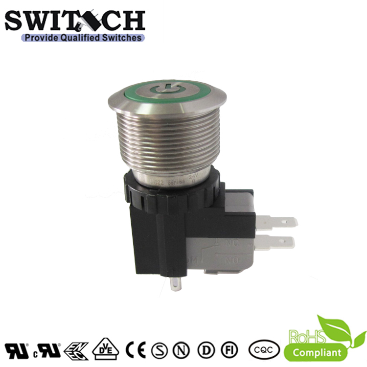 MW22-A0F1L624-B3ZA SUS304 waterproof metal push button switch with 25A