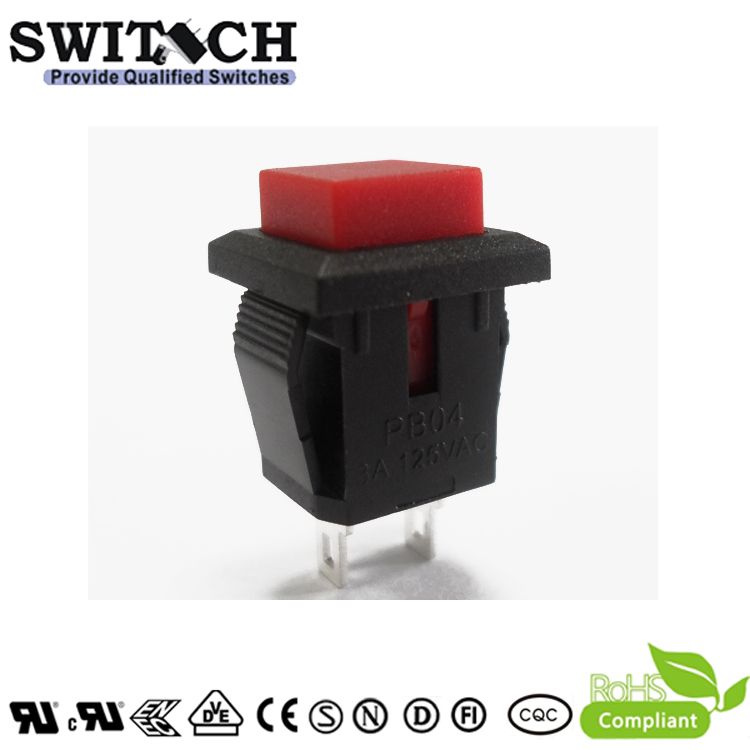 PB04-B-R momentary push button switch with 2 pins Single-Pole Single -Throw (SPST)