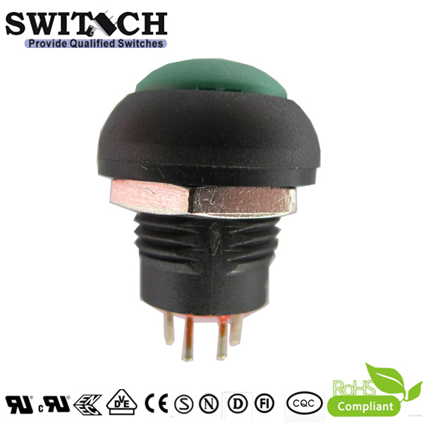 PB12-2-M illuminated LED green momentary push button switch with 4 pins