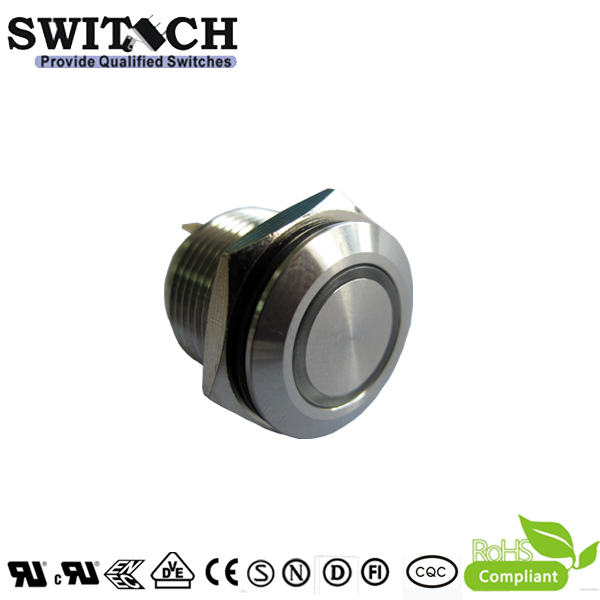 PBM12 dia 12mm IP68 anti-vandal 2A metal push button switch with good quality