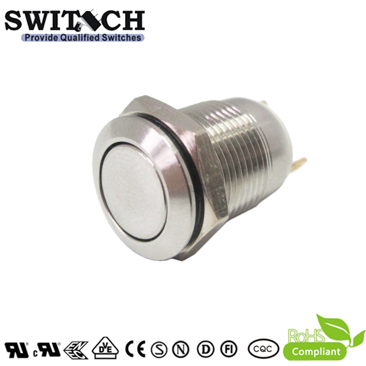 PBM12A-SWZLQ-P10F-S 12mm standard flat head stainless steel pushbutton switch