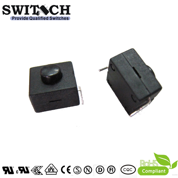 PS121-10 ON-OFF push button switch for flashlight torch, 500mA 50VDC, round  head, square base