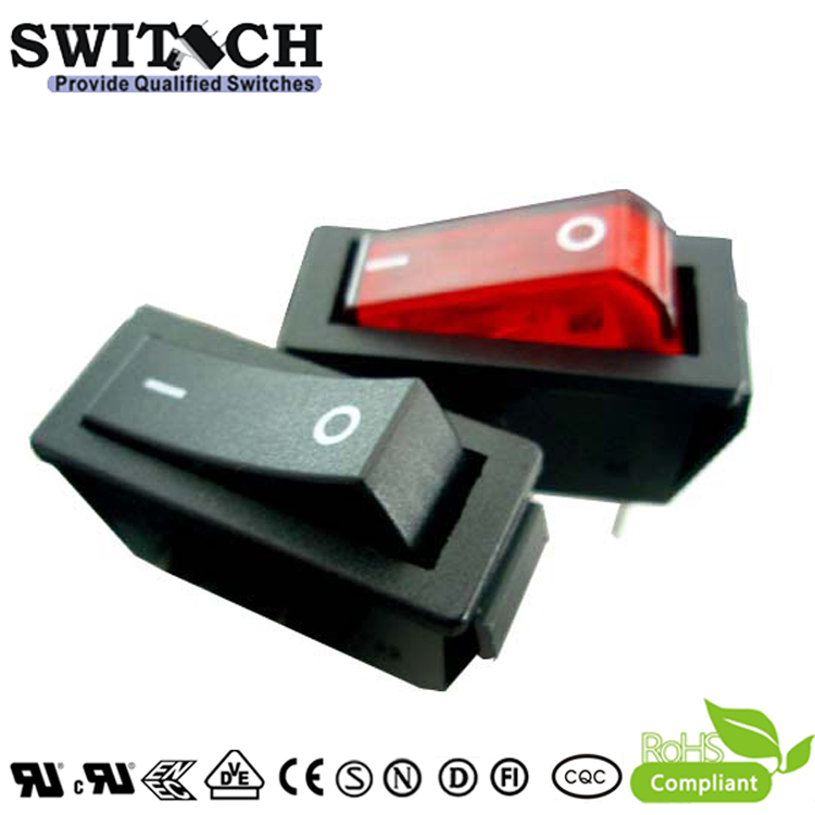 R11-11SW1N hot selling paddle switch 3 pins ON-OFF SPST  rocker switch with red light 23.3*17mm