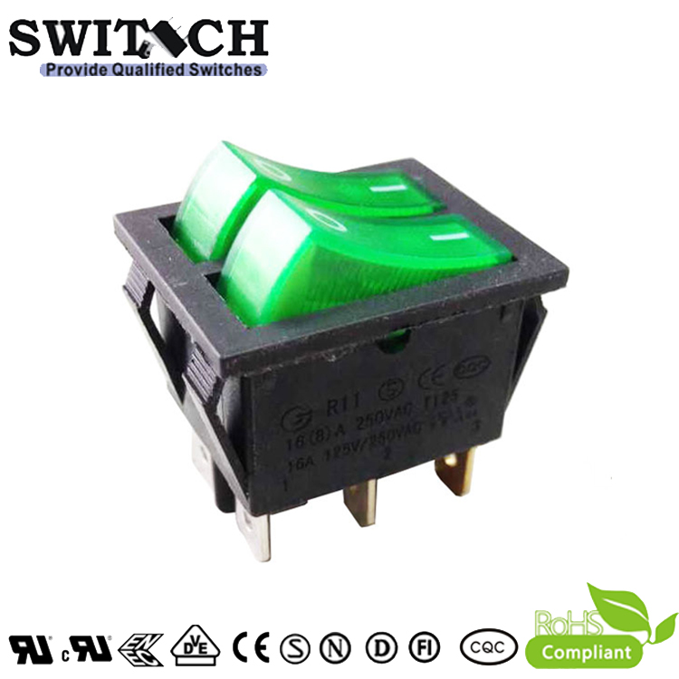 R11-12SW1N paddle switch DPDT 6pins green light double cutting board rocker switch with double push buttons