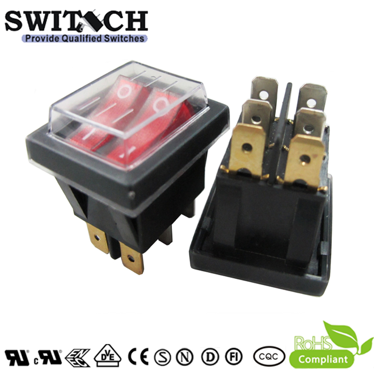 R11-12SW2NBRF DPDT 6pins double push buttons and cutting board waterproof rocker switch with red LED