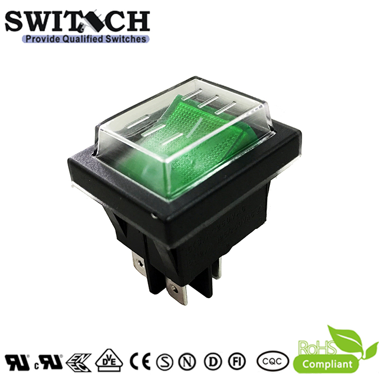 R11-82SW1-FG high quality IP65 DPST waterproof rocker switch with dust cover used for vaccum cleaner