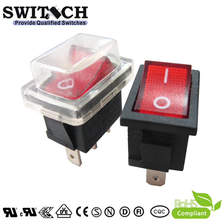R13-11SW12F IP65 SPST waterproof illminated rocker switch with dust cover used for electronic fan