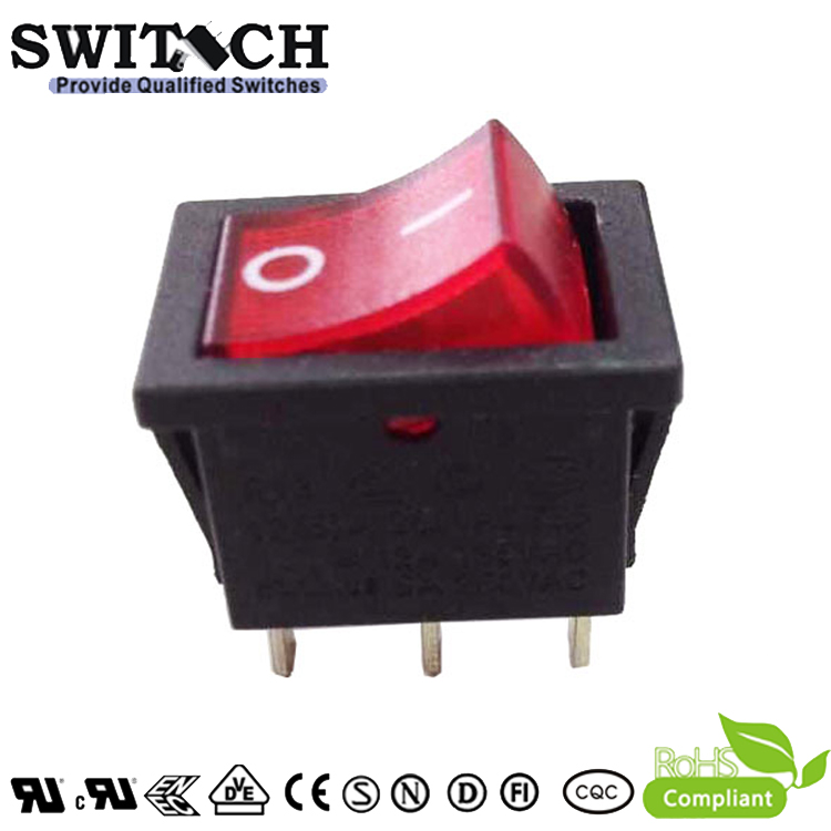 R13-11SW12H 3pins ON-OFF 187 quick-connect terminal SPDT red lighted rocker switch