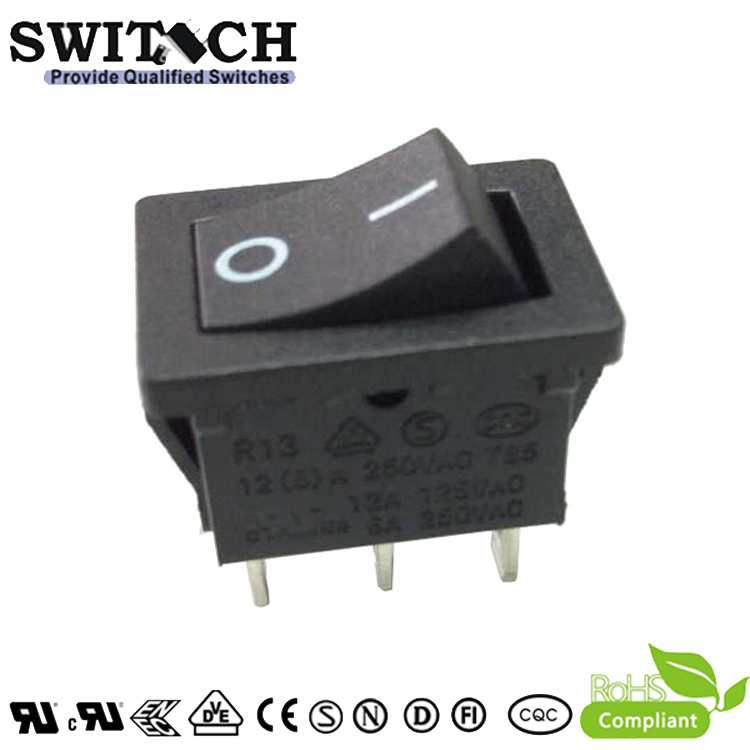 R13-11SW2 paddle switch SPDT 3pins ON-OFF 187 quick-connect terminal rocker switch for dust catcher