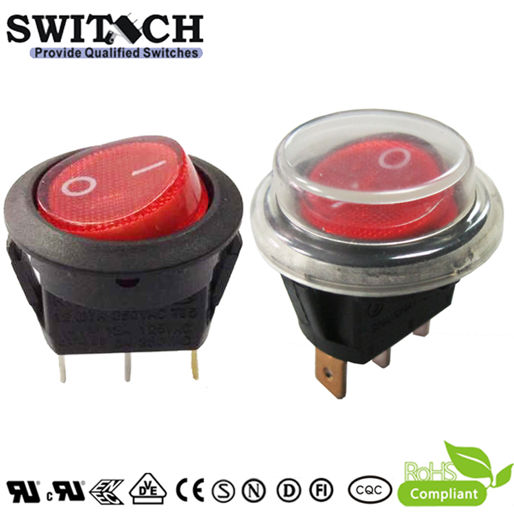 R13-31SW1N IP65 SPST waterproof illminated rocker switch with dust cover used for electronic fan