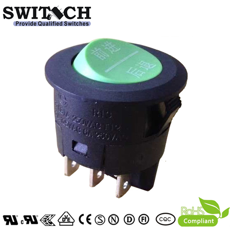 R13-36SW2 DPDT 6 pins green button rocker switch from experienced manufacturer