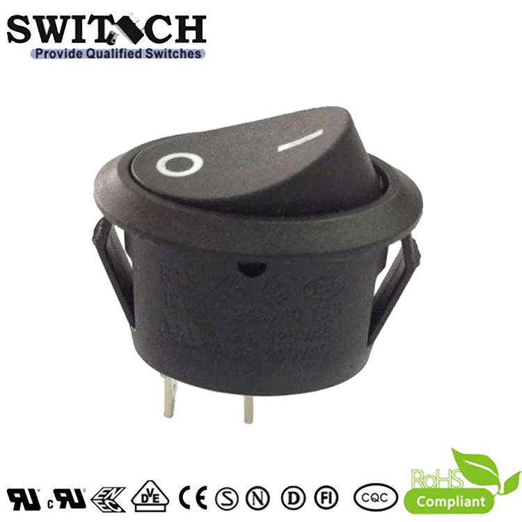 R13-51SW1 SPST  on-off 2pins black oval rocker switch  for indicator button