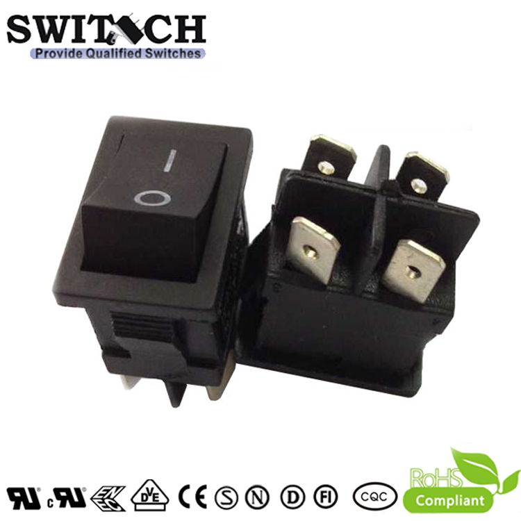 R13-62SW1 ON-OFF 4 pins DPST electronic fan rocker switch with waterproof cover and light