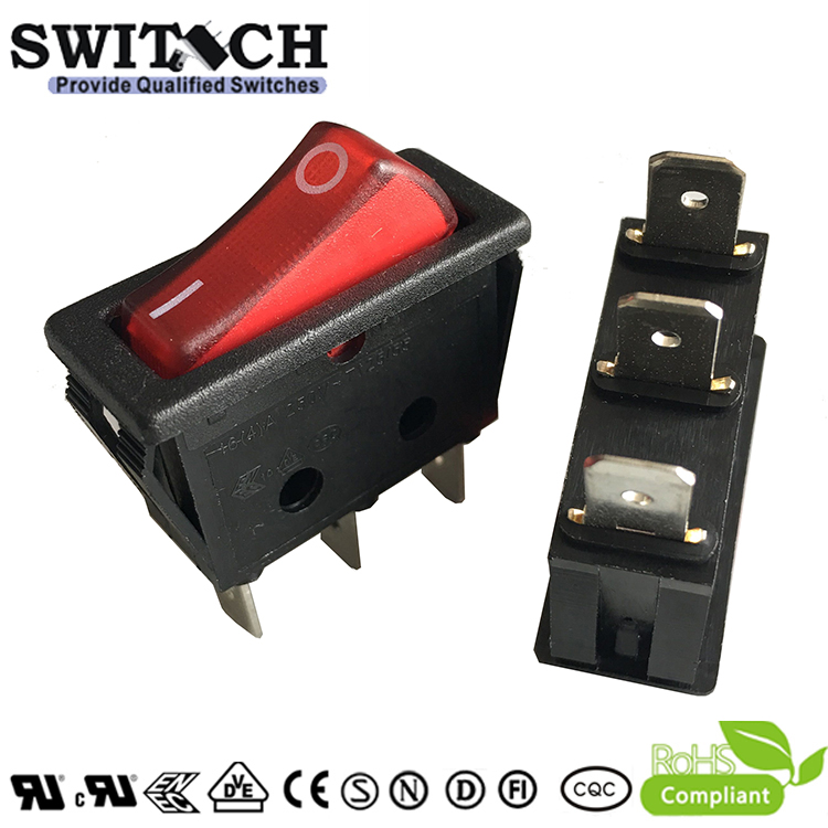 RH110-SWC5L-BRN-W paddle switch 3 pins ON-OFF SPST  red light rocker switch used for elevator