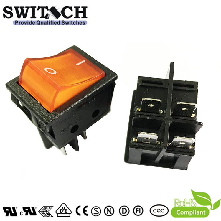 R210-1C5L-BR1-NW paddle switch 4 pins ON-OFF DPST  red light momentary rocker switch used for elevator