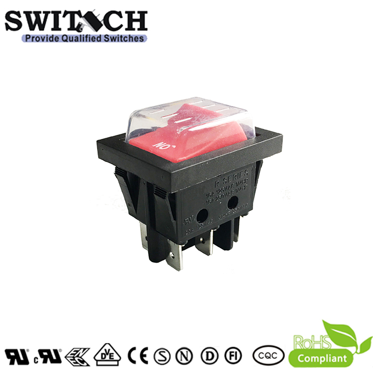 R220-SW1C3N-BR1GW(Re) paddle switch 6 pins ON-OFF DPDT rocker switch used for elevator