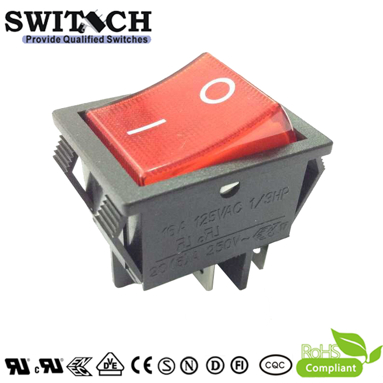 R210-SW1C5L-BR1-NWE8 paddle switch 4 pins ON-OFF DPST  red light momentary rocker switch used for elevator
