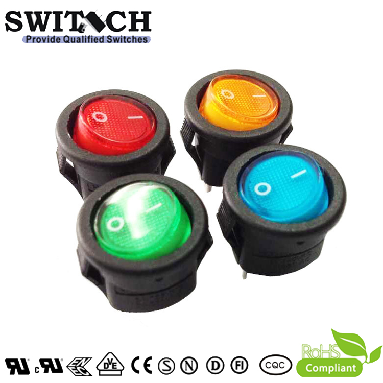 SR-B-SW112-C5E-BR 3 pins ON-OFF SPST round colorful illuminated rocker switch