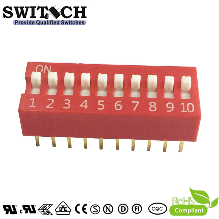 SW10-DS-10 DIP Switch10 Pins In-line Terminal Pinao Push Code Switch
