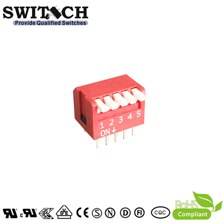 SW12-DPL-05(R)-T 5Pins Cabriole leg  Switch DIP Switch Piano Push Switch