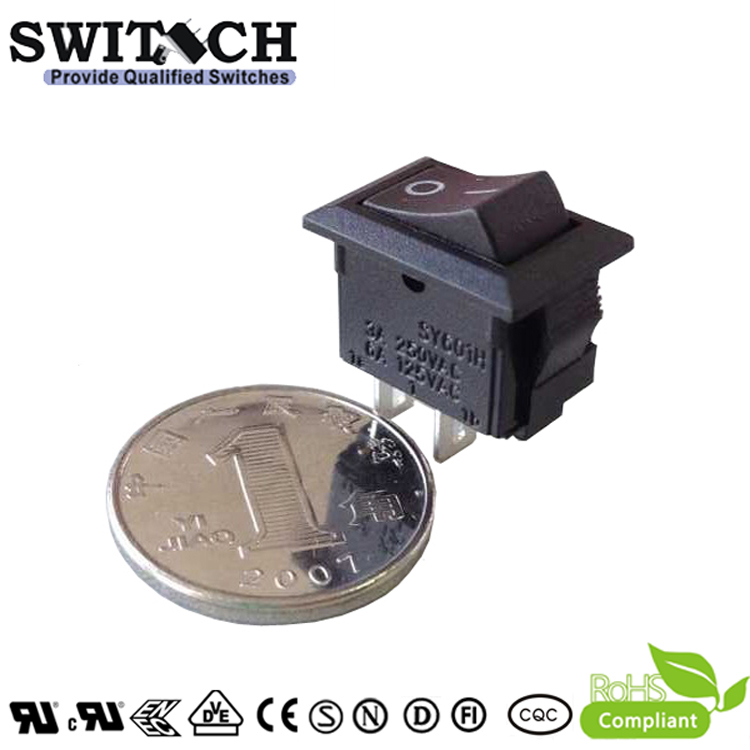 SY601H-SW10111BB 2 pins ON-OFF SPST mini rocker switch for sweeping machine, vacuum cleaner