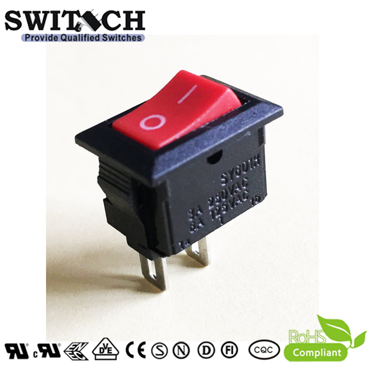 SY601H-SW10111RB 2 pins ON-OFF SPST mini rocker switch for sweeping machine, vacuum cleaner