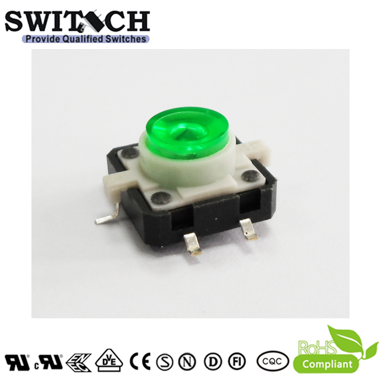 TS12I-072C-G-G15.3 12x12mm Illuminated Tactile Switch Button with Green LED