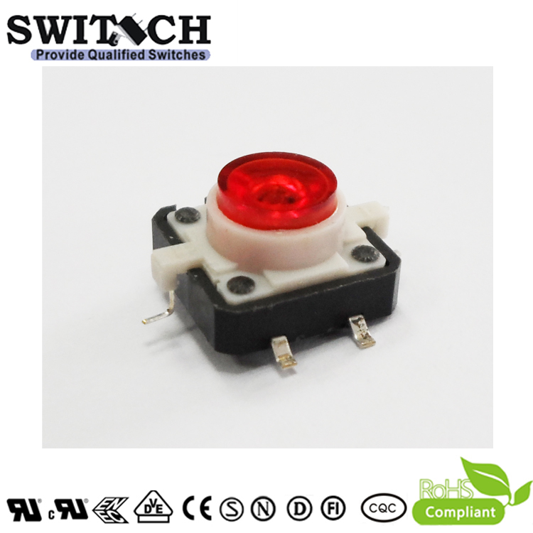 TS12I-072C-R-G15.3 12x12mm Illuminated Micro Contact Switch with Red LED
