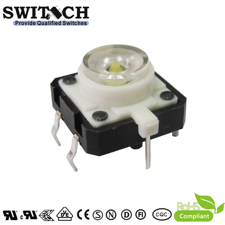 TS12I-072C-W 12x12mm Illuminated White LED Light Tact Switch with RoHS